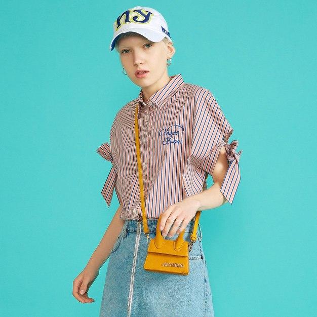 Stripes Shirt Collar Short Sleeve Women's Shirt