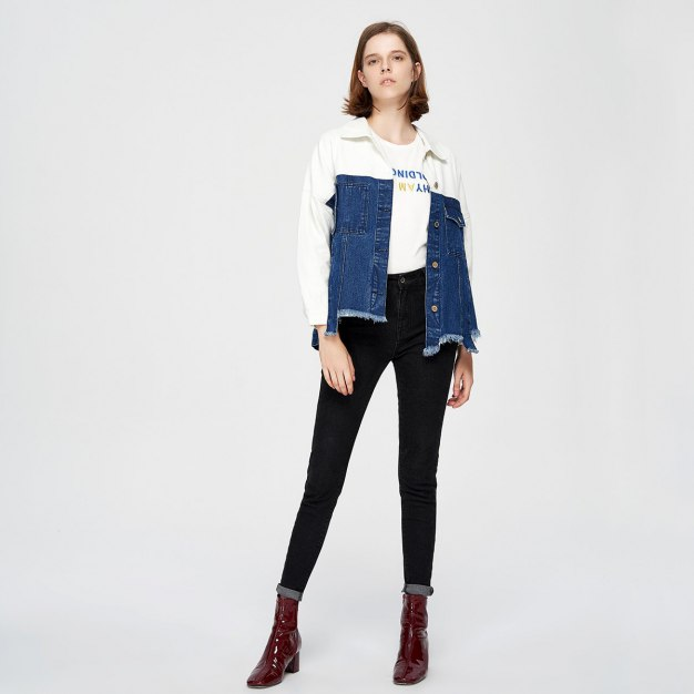Blue Color Block Regular Collar Long Sleeve Women's Outerwear
