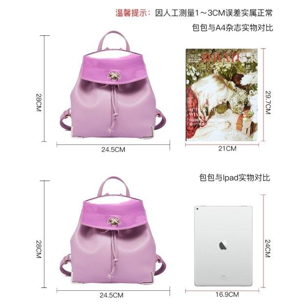 Pink Cowhide Leather Medium Plain Women's Backpack
