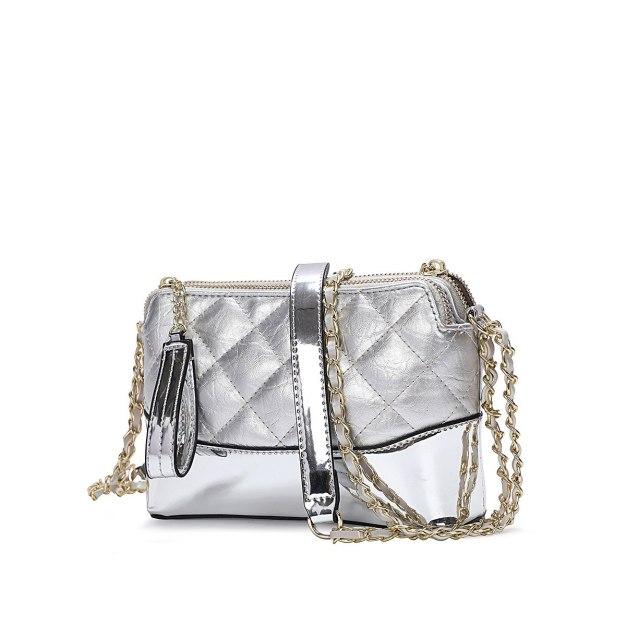Silver PU Purse Small Women's Crossbody Bag