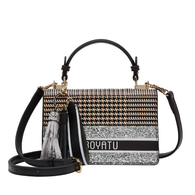 Black Houndstooth Cowhide Leather Small Women's Tote