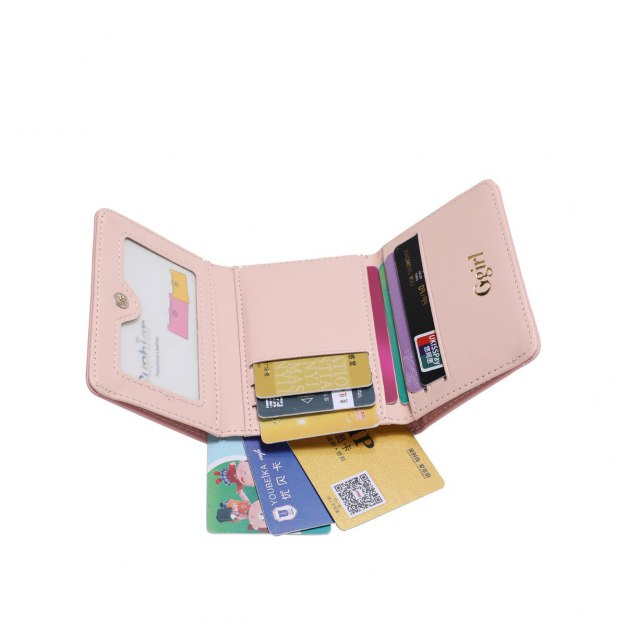 Pink Plain PU Purse(Short) Small Women's Wallet