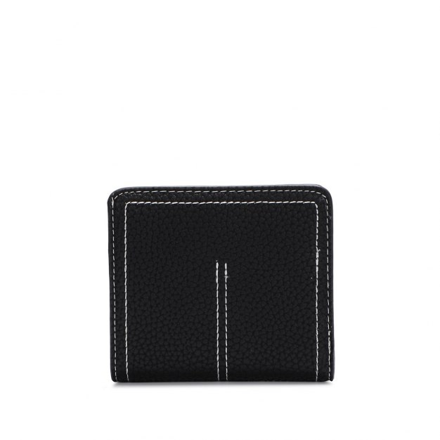 Black Plain PU Purse(Short) Small Women's Wallet