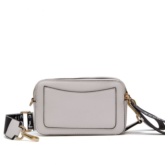 White Houndstooth Cowhide Leather Small Women's Crossbody Bag