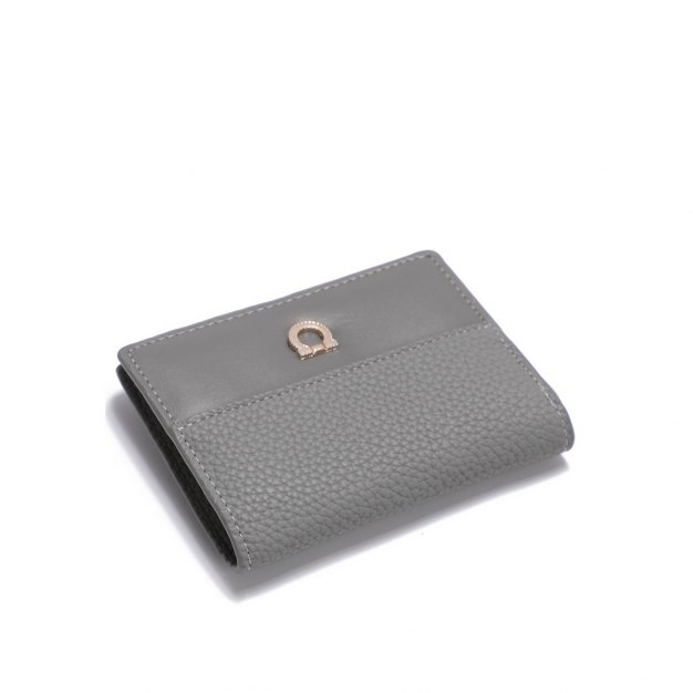 Gray Plain PU Purse(Short) Small Women's Wallet