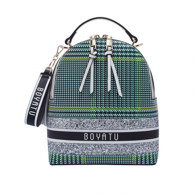 White Cowhide Leather Medium Houndstooth Women's Backpack