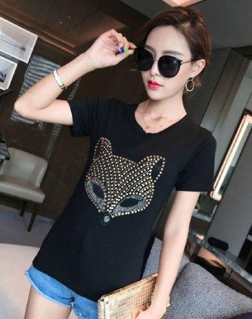 Black Animal Round Neck Short Sleeve Standard Women's T-Shirt