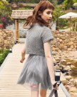 Pink Round Neck Sleeve Pleated Standard Women's Dress