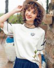 White Round Neck Elastic Short Sleeve Standard Women's Shirt