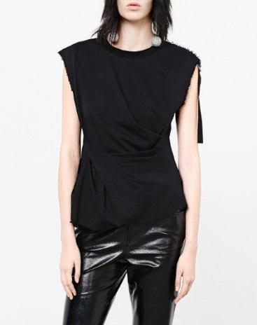Black Plain Round Neck Short Sleeve Standard Women's Shirt