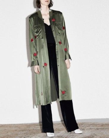 Green Plain Stand Collar Long Sleeve Women's Outerwear