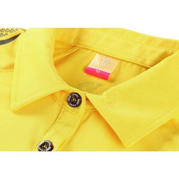 Yellow Lapel Short Sleeve Women's T-Shirt