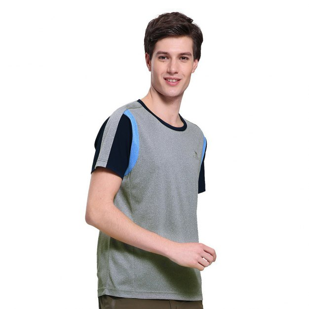 Gray Short Sleeve Quick Drying Men's T-Shirt