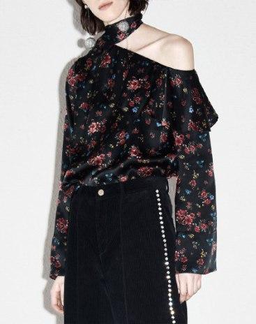 Print Off Shoulder Collar Long Sleeve Loose Women's Shirt