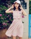 Pink Lapel Sleeveless Standard Women's Dress