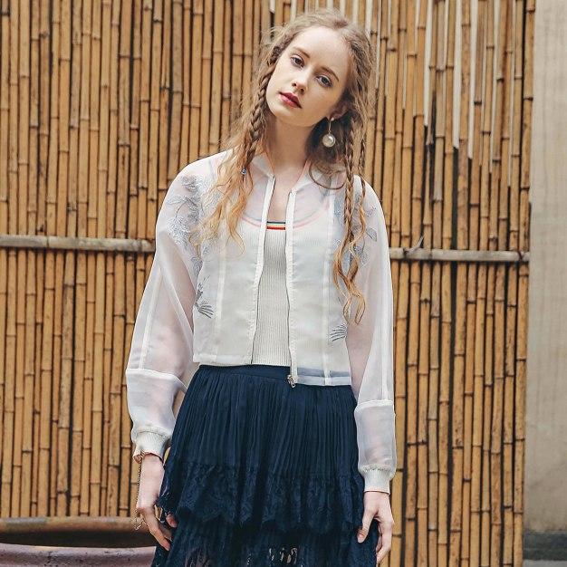 White Plain Baseball collar Long Sleeve Women's Outerwear