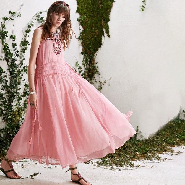 Pink Round Neck Sleeveless A Line Standard Women's Dress