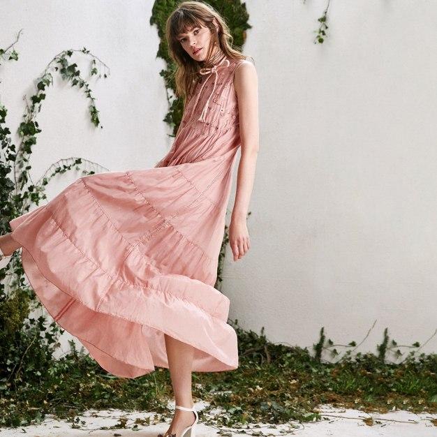 Pink Round Neck Sleeveless 3/4 Length A Line Women's Dress