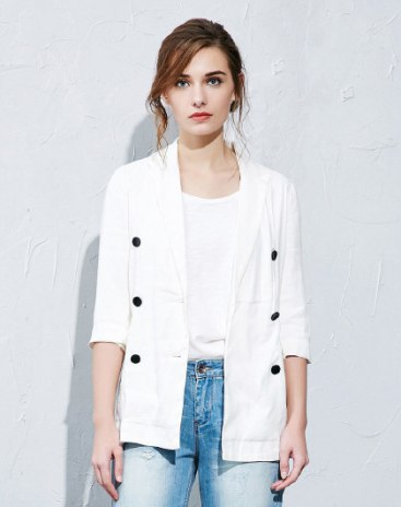 White Plain Lapel Double Breasted 3/4 Sleeve Women's Outerwear