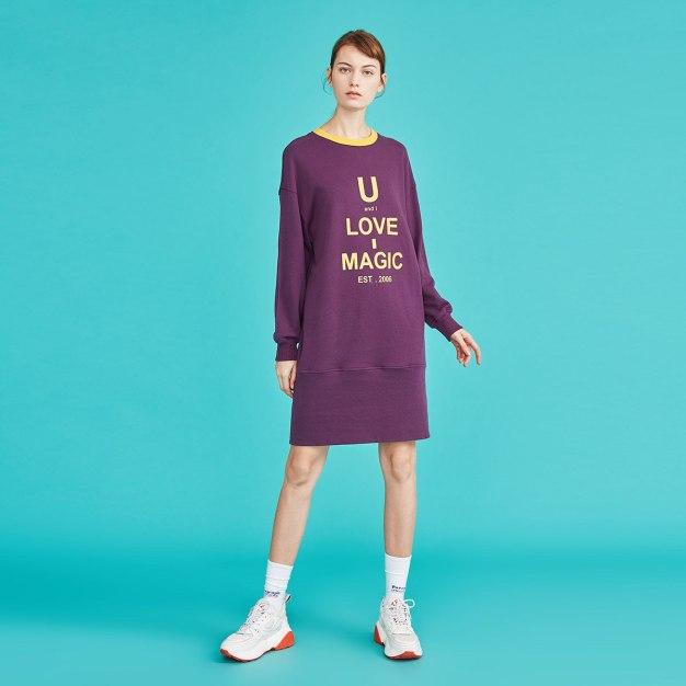 Purple Round Neck Long Sleeve 3/4 Length Loose Women's Dress