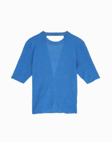 Plain Round Neck Elastic Short Sleeve Standard Women's Knitwear