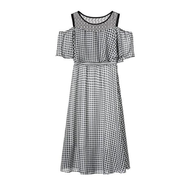 Gray Round Neck High Waist 3/4 Length Shaped Women's Dress