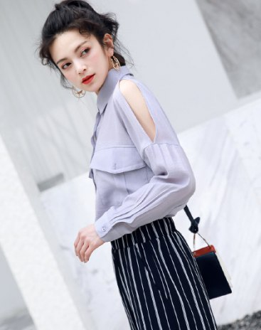 Blue Plain Lapel Single Breasted Long Sleeve Loose Women's Shirt