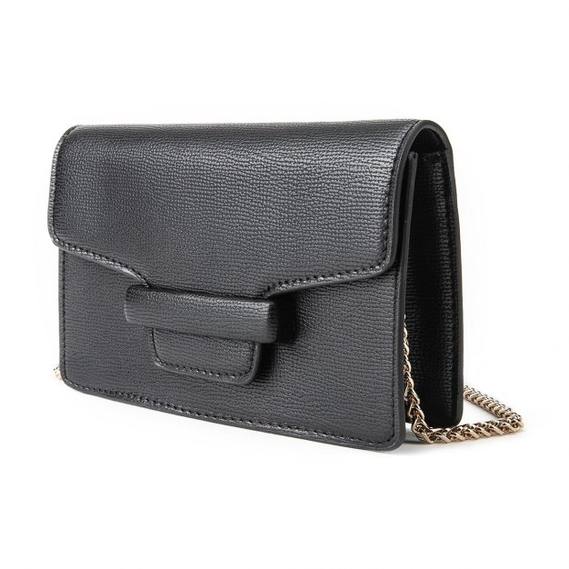 Black Plain PU Mini Women's Crossbody Bag