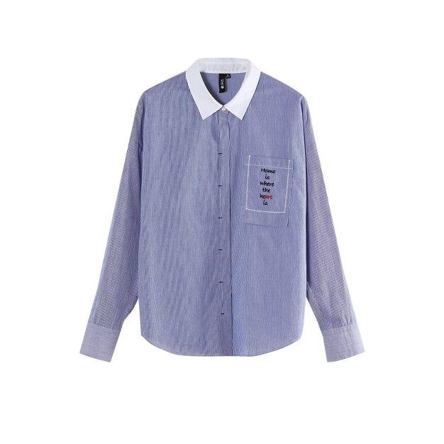 Polo Neck Single Breasted Long Sleeve Loose Women's Shirt