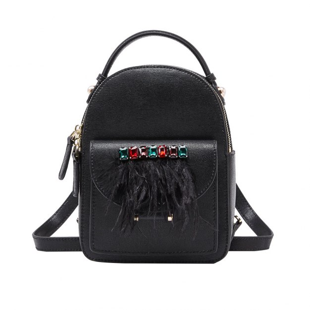 Black Cowhide Leather Mini Plain Women's Backpack