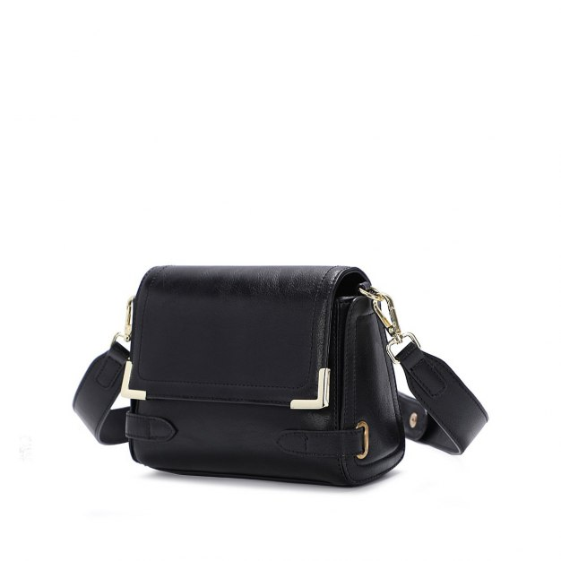 Black Plain PU Envelope Bag Small Women's Crossbody Bag