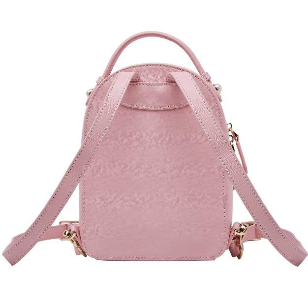 Pink Cowhide Leather Mini Plain Women's Backpack