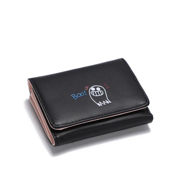 Black PU Purse(Short) Small Women's Wallet