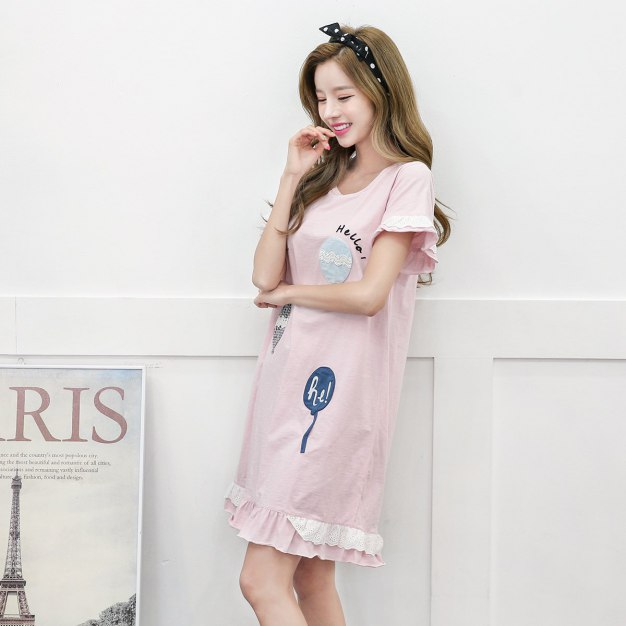 Pink Cotton Short Sleeve Standard Women's Sleepwear