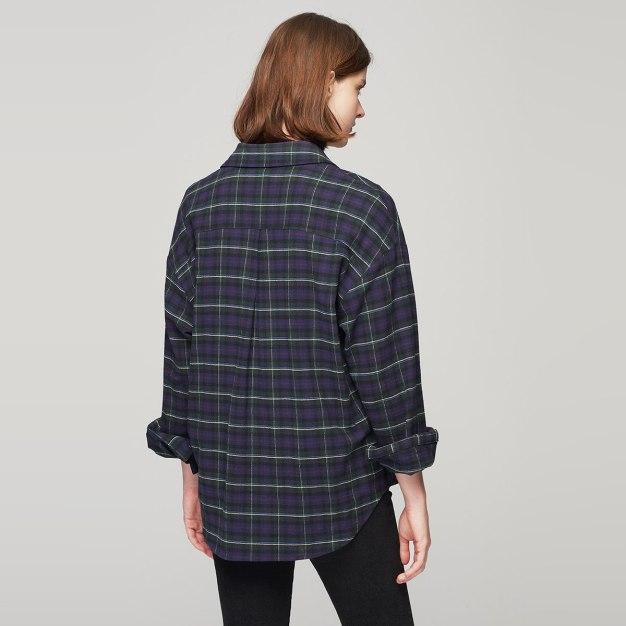 Green Lapel Single Breasted Long Sleeve Standard Women's Shirt