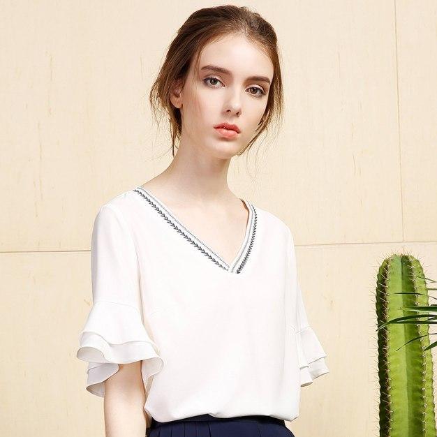 White Plain V Neck Elastic Short Sleeve Loose Women's Shirt