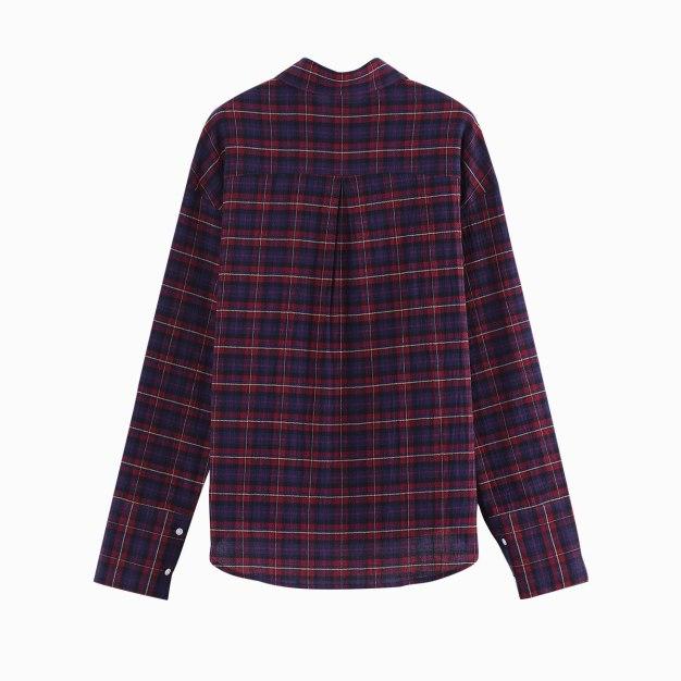 Red Lapel Single Breasted Long Sleeve Standard Women's Shirt