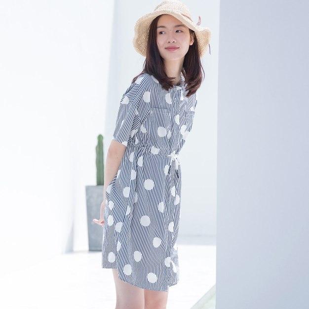 Round Neck Short Sleeve 3/4 Length Standard Women's Dress
