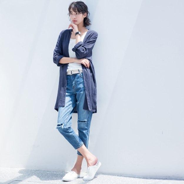 Indigo Plain Long Sleeve Standard Women's Outerwear