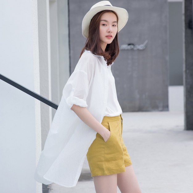 White Stripes Shirt Collar Long Sleeve Women's Shirt