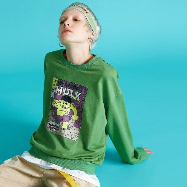 Green Print Round Neck Long Sleeve Loose Women's Sweatshirt