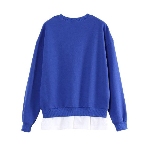 Blue Print Round Neck Long Sleeve Loose Women's Sweatshirt