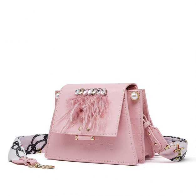 Pink Plain Cowhide Leather Organ Bag Small Women's Crossbody Bag