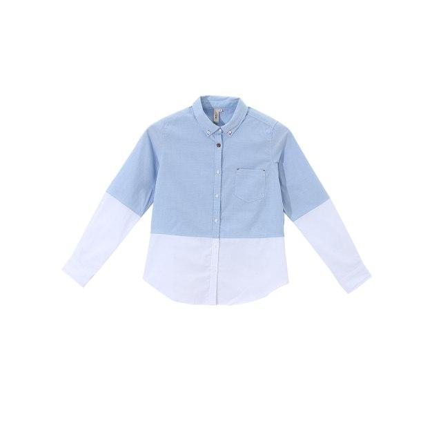 Blue Polo Neck Single Breasted Long Sleeve Women's Shirt