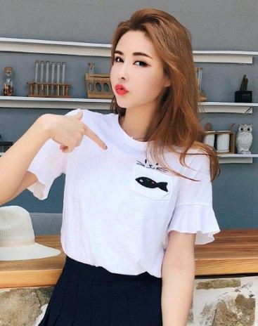 White Print Round Neck Short Sleeve Standard Women's T-Shirt