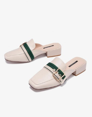 White Cut Square Toe of Shoes Low Heel Women's Sandals