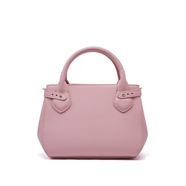 Pink Plain Cowhide Leather Pig Bag Small Women's Tote