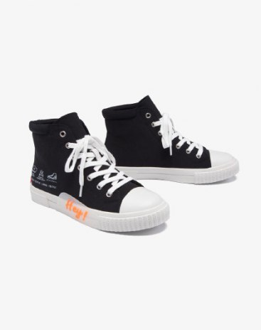Black High Top Round Head Low Heel Women's Canvas