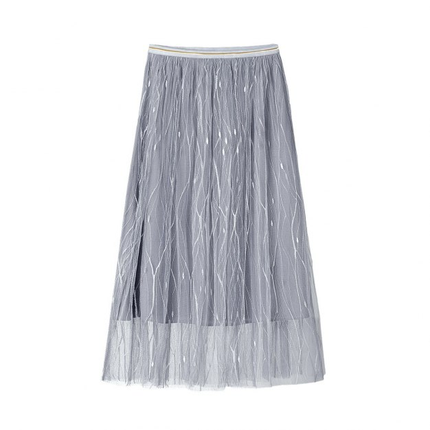 Gray High Waist 3/4 Length Women's A Line Skirt