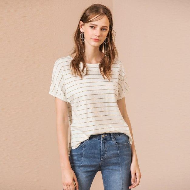 White Stripes Round Neck Elastic Short Sleeve Women's Knitwear